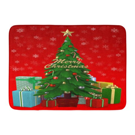 GODPOK Candy Colorful Ball Decorated Christmas Tree and Presents Red 3D Green Bright Celebration Rug Doormat Bath Mat 23.6x15.7 inch](Decorate Classroom Door For Christmas)