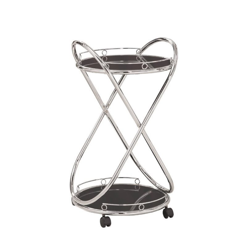 Bowery Hill Metal Serving Cart in Chrome by Bowery Hill