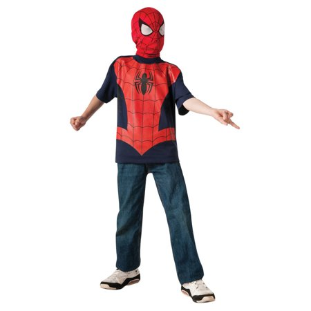 Ultimate Spiderman Boys Marvel Superhero T Shirt Costume Top (Marvel Super Hero Costumes)