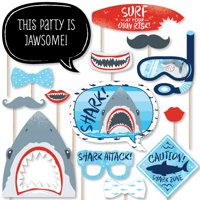 Shark Zone - Jawsome Shark Viewing Week Party or Birthday Party Photo Booth Props Kit - 20 Count