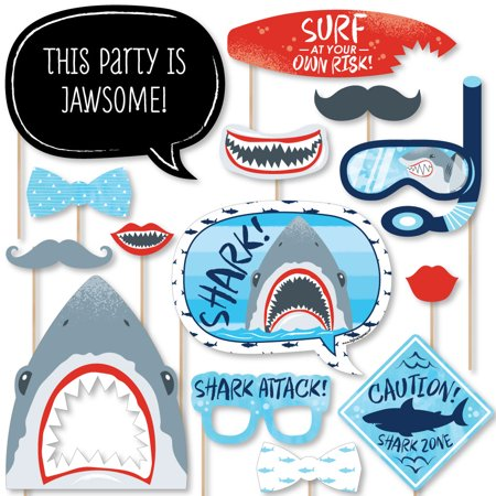 Shark Zone - Shark Week Party - Jawsome Shark Party or Birthday Party Photo Booth Props Kit - 20 Count - Party Props