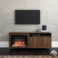 """Queer Eye Farnsworth Mid-Century Fireplace TV Stand for TVs up to 65"""", Walnut"""
