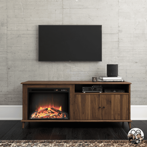 "Queer Eye Farnsworth Mid-Century Fireplace TV Stand for TVs up to 65"", Walnut"