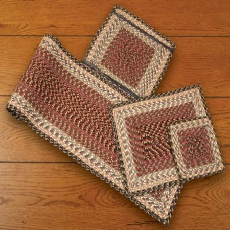 Earth Rugs 55 057 Burgundy Gray Creme Square Chair Pad