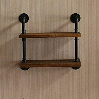 industrial pipe design metal & wood shelf ann