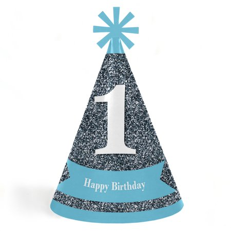 1st Birthday Boy - Fun To Be One - Cone Happy First Birthday Party Hats for Kids and Adults - Set of 8 (Standard