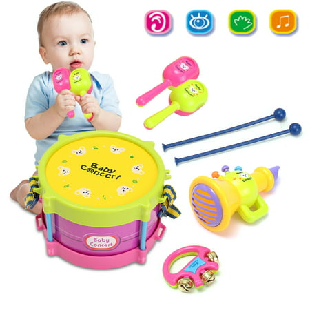 Baby Concert Toys, 5PC Roll Drum Musical Instruments Band Kit Unisex Colorful Learning and Development Toys Gift for Toddler Boys Girls Best Christmas
