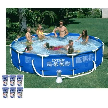 Intex 12ft x 30in Metal Frame Round Swimming Pool Set 530 GPH Pump & 6 A Filters Intex Frame Set Pool