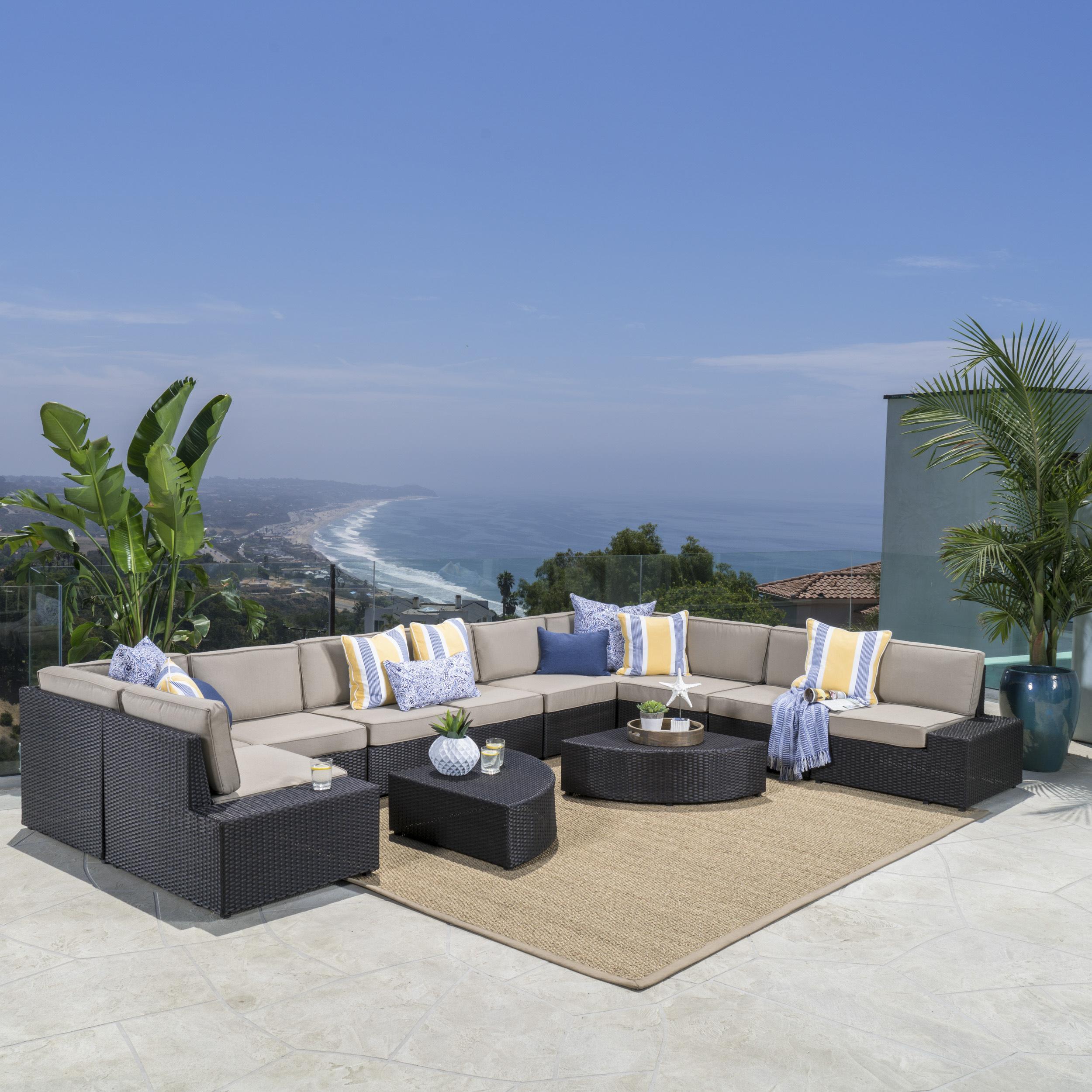 Keyston 12 Piece Outdoor Wicker Sofa Set with Cushions, Brown