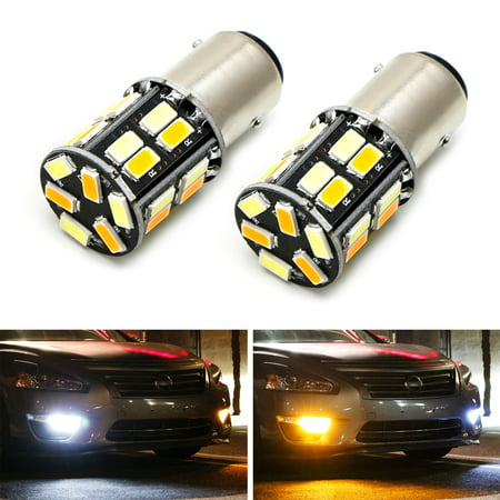 iJDMTOY (2) 26-SMD Diodes White/Amber Dual Color Switchback 1157 2357 7528 S25 LED Bulbs For Front Turn Signal (99 Signal Lamp)