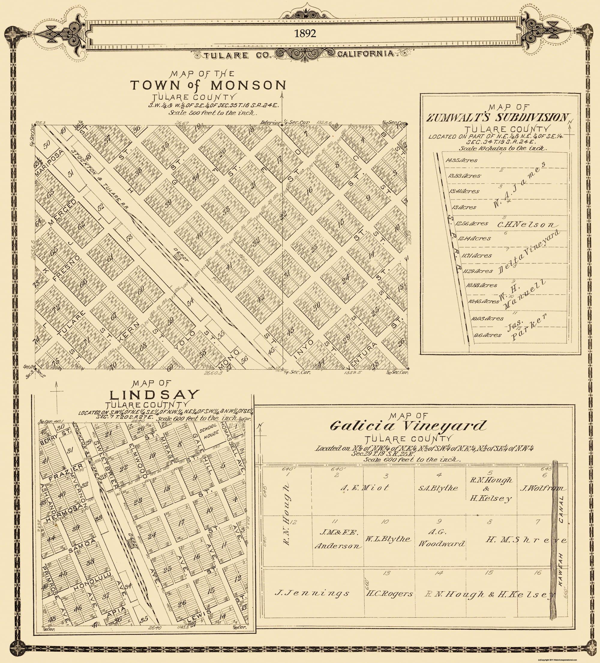 Lindsay California Map.Old City Map Lindsay Monson California 1892 23 X 25 Walmart Com