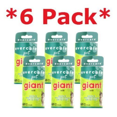- Evercare Giant Pet Hair Roller REFILL - 6 Pack x 60 Sheets
