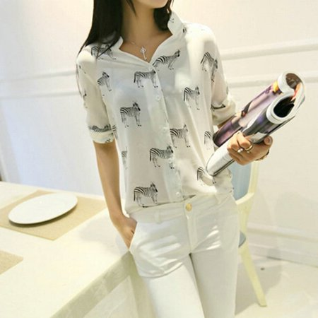 Zebra Triangle Top - Women Zebra Print Blouse Chiffon Shirt Tops Girl Sleeve Button Down Tops