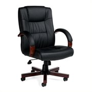 Offices To Go Luxhide Executive Office Chair with Wood Arms and Base