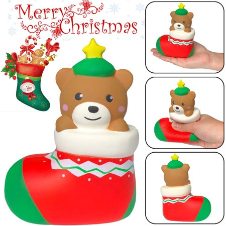 Mosunx Squishies Cute Christmas Bear Gift Slow Rising Fruits Scented Stress Relief Toy - Cheap Christmas Toys