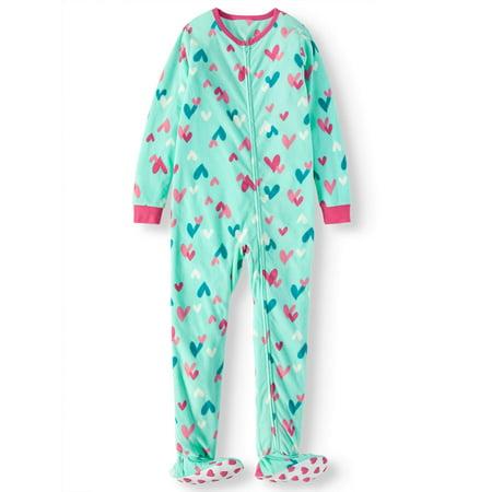 Komar Kids Girls' Heart Fleece Footed Blanket Sleeper (Little Girls & Big Girls)