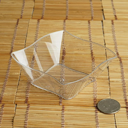 BalsaCircle Clear 12 pcs 6 oz. Wave Design Plastic Mini Bowls - Wedding Reception Party Buffet Catering - Clear Plastic Bowl