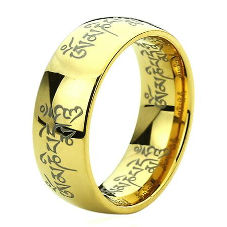 Men Women 8MM Titanium Comfort Fit Wedding Band Ring Tibetan Mantra Om Mani Padme Hum Yellow Tone Ring (5 to 13)