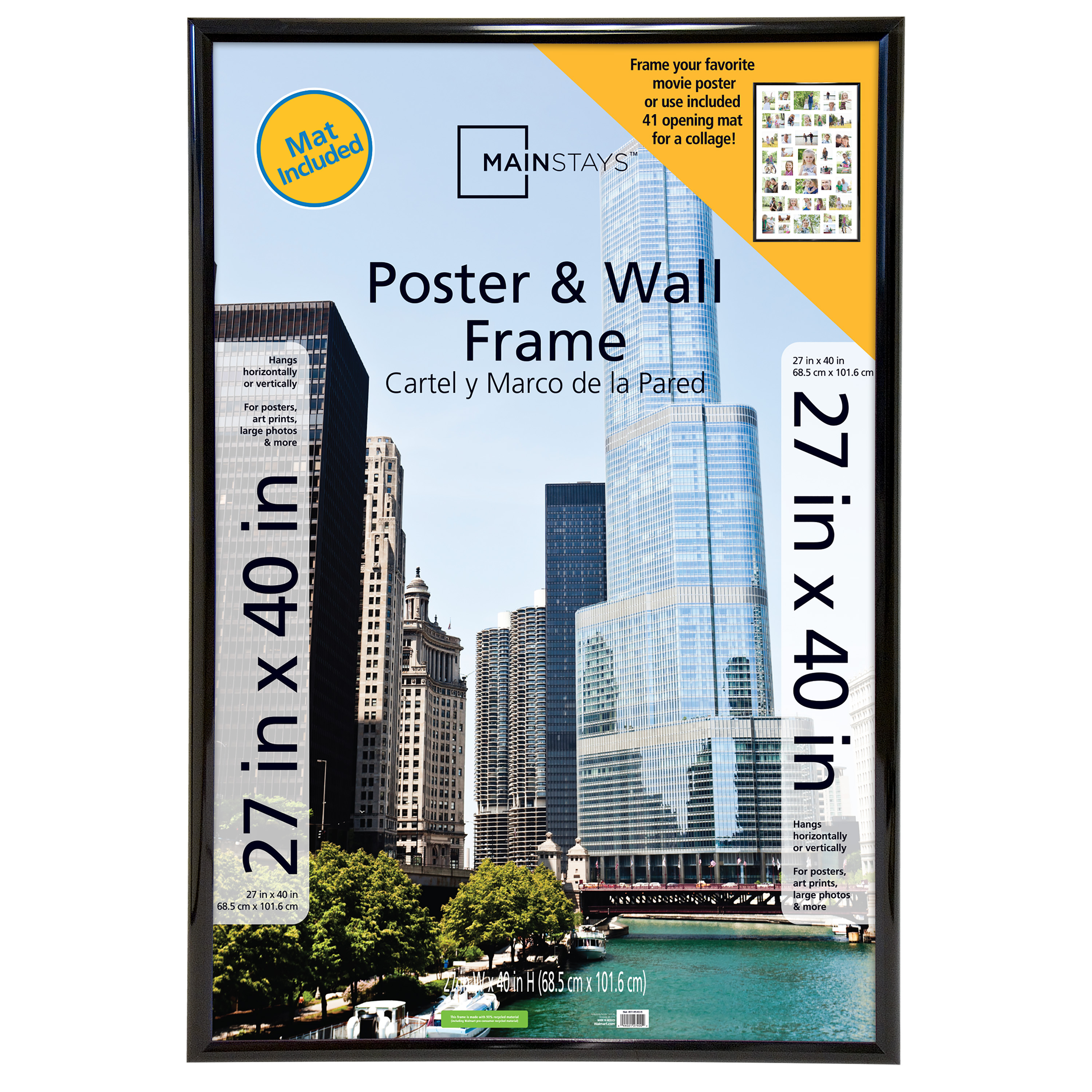 Mainstays 27x40 41-Opening Trendsetter Collage Poster & Picture Frame, Black