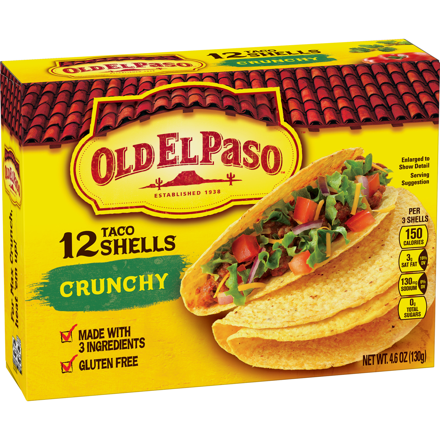 Old El Paso Crunchy Shells, 4.6 oz, 12 Count Box