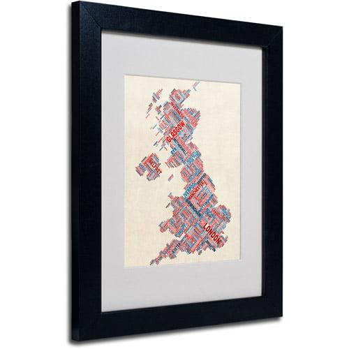 """Trademark Fine Art """"United Kingdom III"""" Matted Framed Art by Michael Tompsett, Black Frame"""