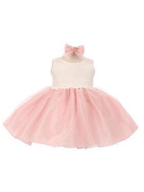 Product Image Good Girl Baby Girls Pink Off-White Tulle Adorned Flower Girl Dress 6-24M