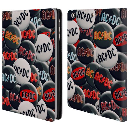 OFFICIAL AC/DC ACDC BUTTON PINS LEATHER BOOK WALLET CASE COVER FOR APPLE  IPAD - Walmart com