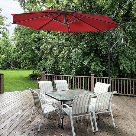 10' Hanging Umbrella Patio Sun Shade Offset Market W/ T Cross Base Burgundy - image 4 of 10
