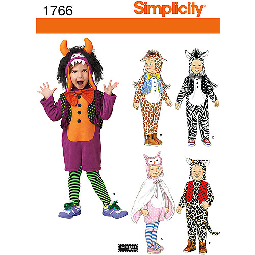Simplicity Pattern Toddler's Animal Costumes and Hats, (1/2, 1, 2, 3, 4)