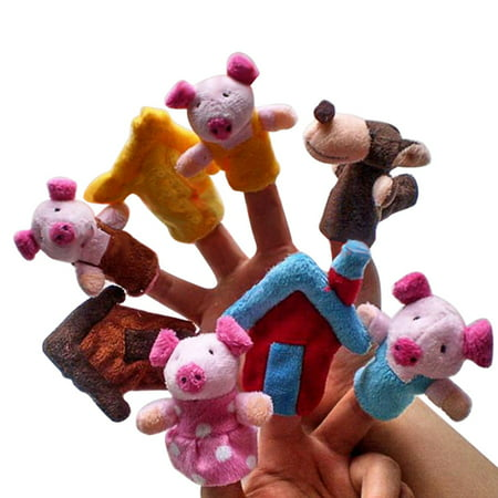 8-Piece Soft Animal Finger Puppets for Fairy Tale The Three Little Pigs Children Story Time Toys