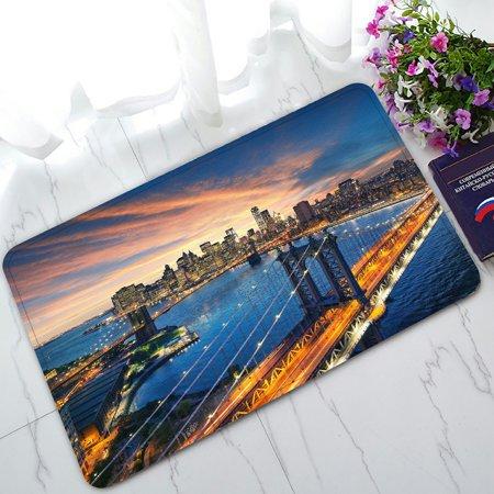 PHFZK Beautiful Sunset Doormat, New York City Manhattan Brooklyn Bridge Doormat Outdoors/Indoor Doormat Home Floor Mats Rugs Size 30x18 inches - Party City Welcome Home