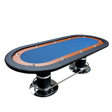 96 Inch Poker Table - Poker Table for 10 Players Oval 96 x 43 Inch Racetrack Cup Holders Blue Speed Cloth Stainless Pedestal Legs By IDS Poker
