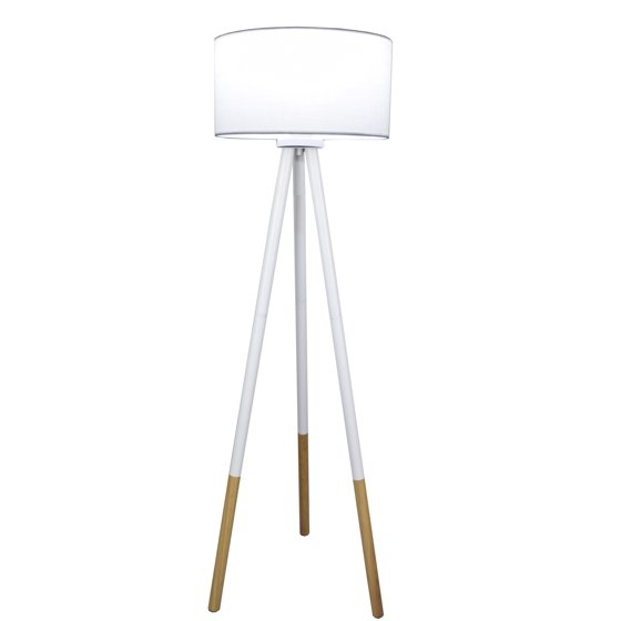 Light Accents Tripod Floor Lamp with Wood and Metal Base and Linen ...