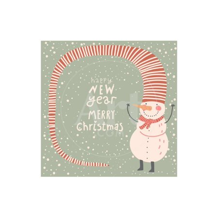 Merry Christmas and a Happy New Year Cartoon Card in Vector. Childish Background with Funny Snowman Print Wall Art By (Merry Christmas And Happy New Year In Danish)