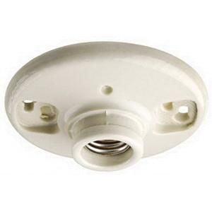 Leviton 49875 Medium Base Single Circuit 1-Piece Keyless Incandescent Outlet Box Lampholder 250 Volt White