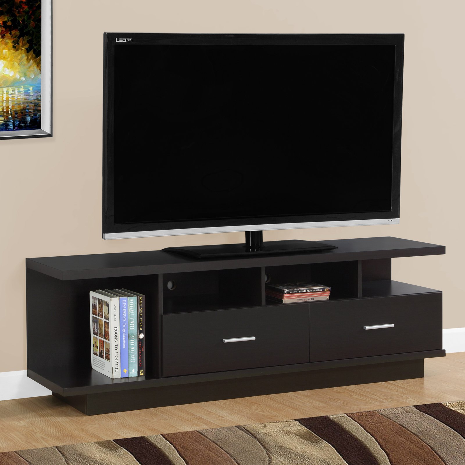 "MONARCH - TV STAND - CAPPUCCINO WITH 2 DRAWERS - FOR TV'S UP TO 60""L"