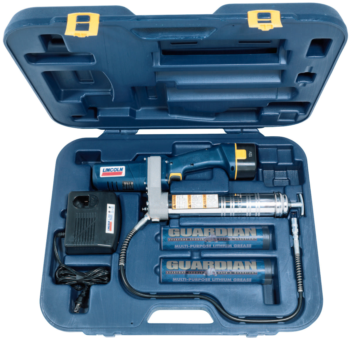 """Lincoln Industrial PowerLuber Battery Operated Grease Guns, 14.5 oz, 6,000 psi, 1/8"""" NPT(F), Hose"""
