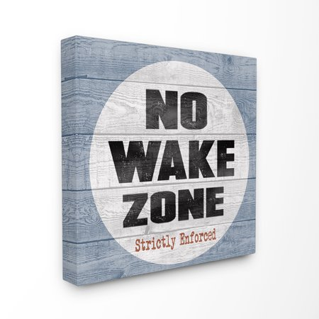 The Stupell Home Decor Collection No Wake Zone Beach Plank Stretched Canvas Wall Art, 30 x 1.5 x 30 (Decor Home)