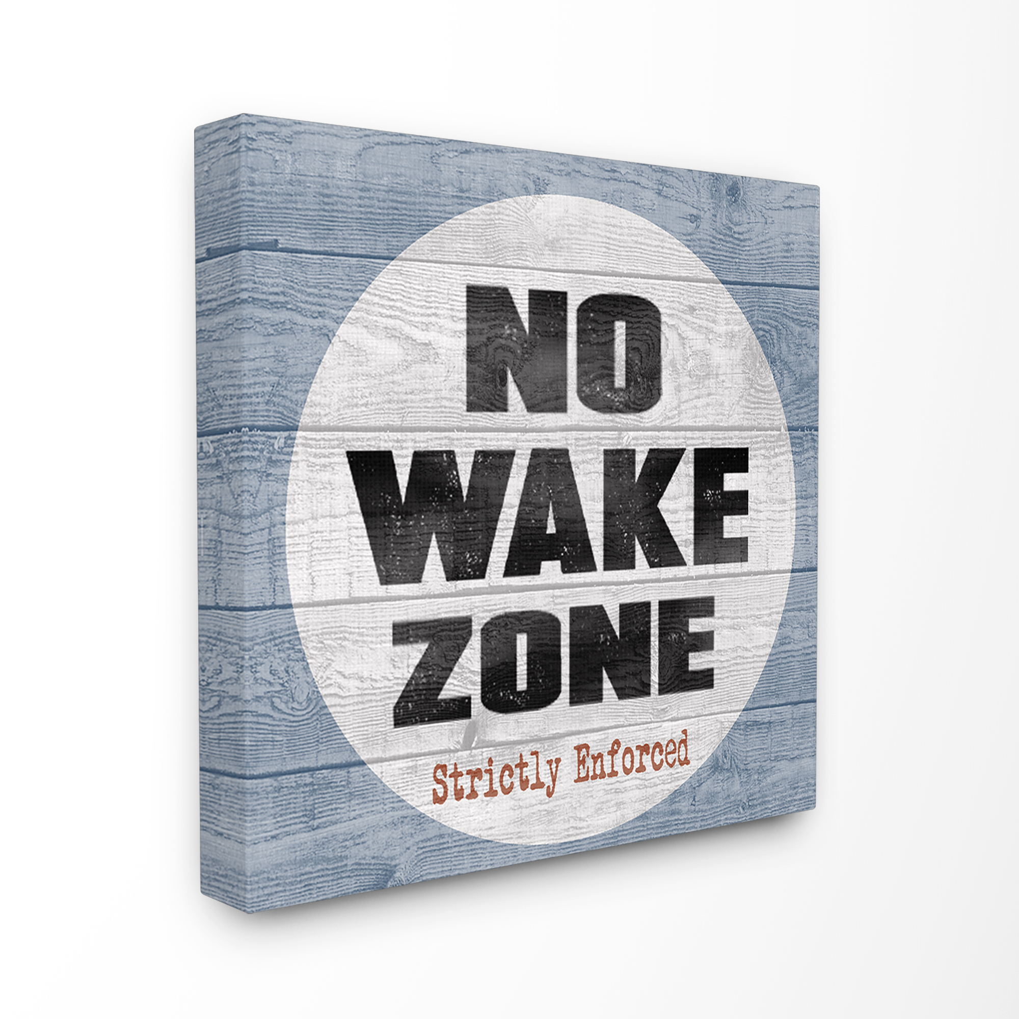 The Stupell Home Decor Collection No Wake Zone Beach Plank Stretched Canvas Wall Art, 30 x 1.5 x 30