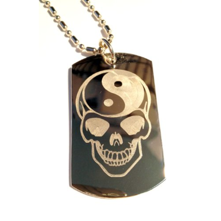 Sugar Skull Yin Yang Brain Tattoo Face Logo Symbols - Military Dog Tag  Luggage Tag Key Chain Metal Chain Necklace