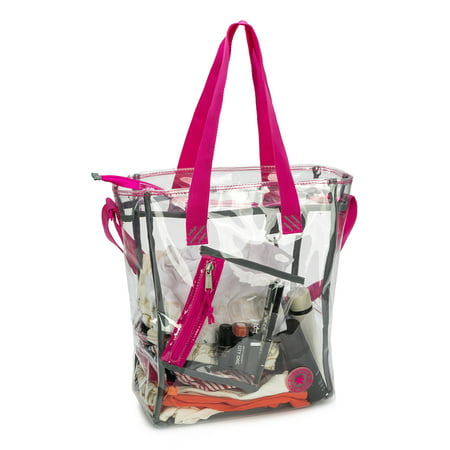 Heavy Duty Clear Tote Bag Messenger Bag Durable 0.5mm Vinyl Work Bag, Hot Pink ()