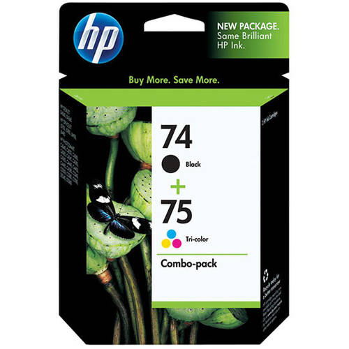 HP 74 Black/75 Tri-color Original Ink Cartridges, 2 pack (CC659FN)