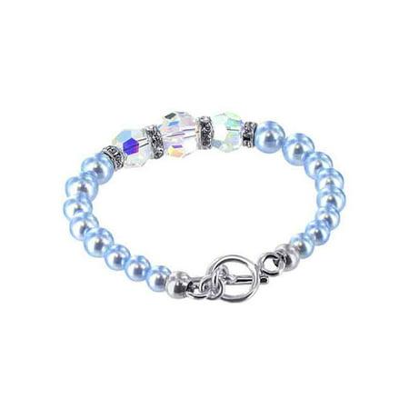 Swarovski Blue Bracelets - Gem Avenue 925 Sterling Silver Blue Faux Pearl Handmade Bracelet 7.5 inch with Swarovski Elements Crystals