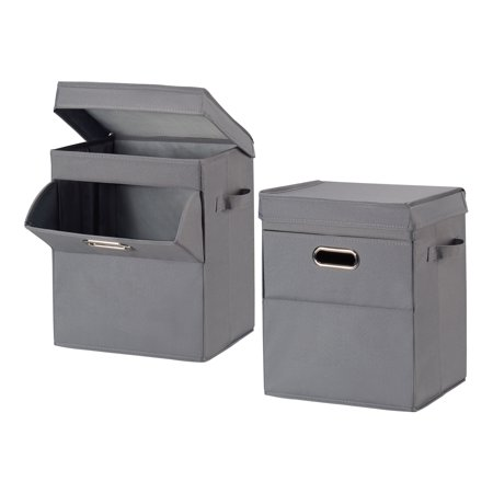 Mainstays Front Loading Stackable Small Laundry Hamper with Lid, 2 Pack, Grey ()
