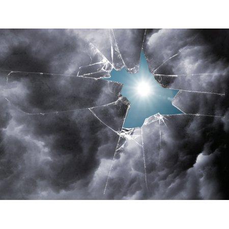 LAMINATED POSTER Clouds Broken Window Sun Damaged Destruction Poster Print 24 x