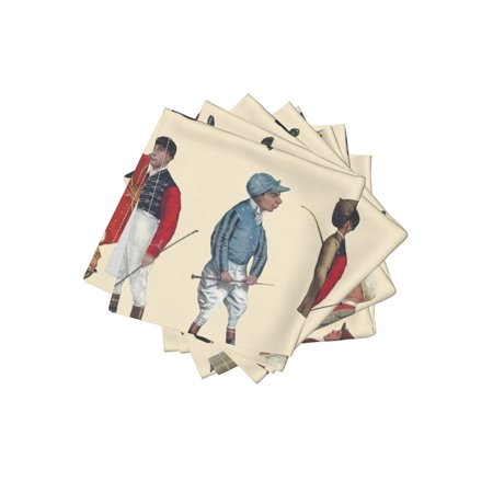 Cocktail Napkins Equestrian Horse Jockeys Jockeys Jockeys Racehorse Set of 4