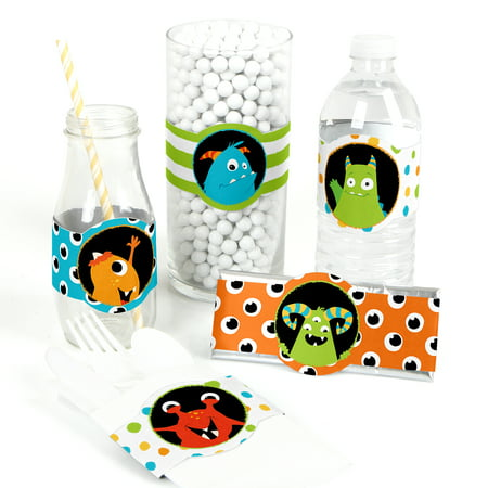 Monster Bash - DIY Party Supplies - Little Monster Birthday Party or Baby Shower DIY Wrapper Favors & Decorations -15 Ct (Diy Birthday Party Favors)