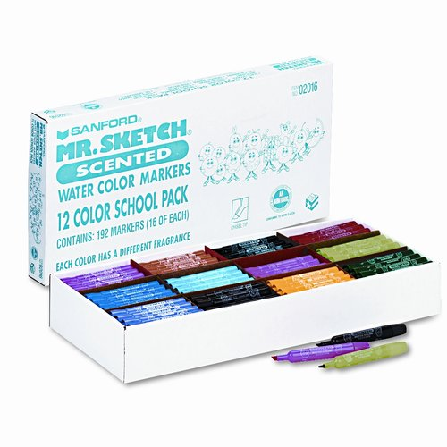 Mr. Sketch Scented Watercolor Markers, 12 Colors, 192-Pack
