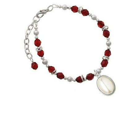 Silvertone Small Cream Imitation Pearl Maroon Beaded Bracelet Small Pearl Bracelet