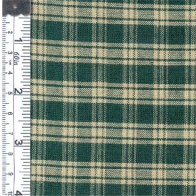Textile Creations 123 Rustic Woven Fabric, Natural Plaid Green, 15 yd.
